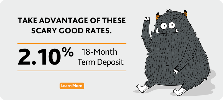2.10% on 18 Month Term Deposit