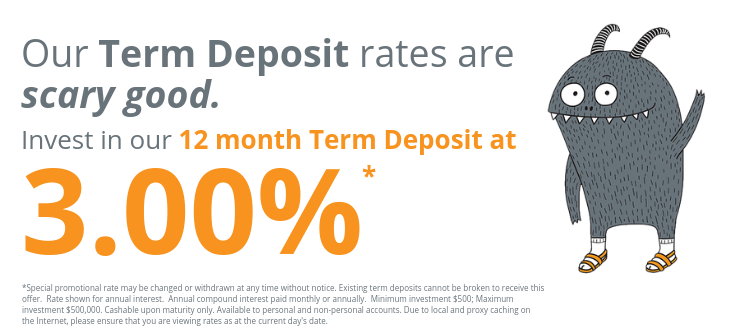 Invest in our 12 month Term Deposit at 3.00%