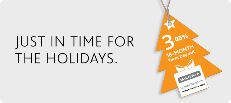 Happy Holidays - Get 3.05% Term Deposit Rate on 18 Month