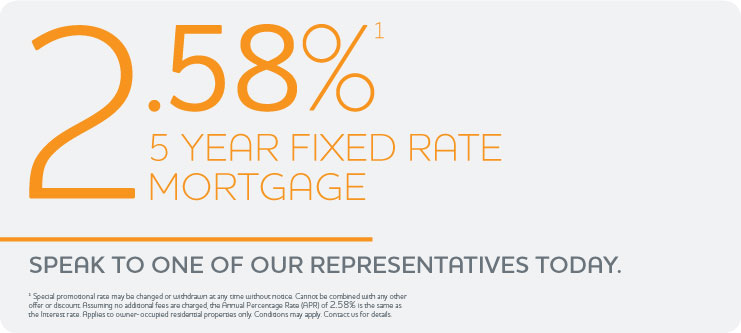 2.58% 5 Year Fixed Rate Mortgage